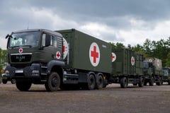 O sistema alemão do centro do salvamento em caminhões está na placa Foto de Stock Royalty Free