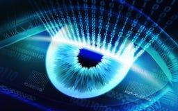 O sistema da exploração da retina, dispositivos de segurança biométricos imagens de stock royalty free