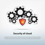 O sistema da nuvem está trabalhando com molde da segurança avançada, Fotos de Stock Royalty Free