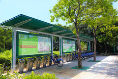 O sistema de transporte público da bicicleta na cidade amoy Foto de Stock Royalty Free