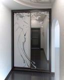 O sistema do armário do design de interiores de Salão, 3D rende Imagem de Stock