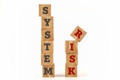 O sistema e o risco exprimem escrito na forma do cubo Fotos de Stock Royalty Free