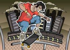 O skater executa um truque Fotografia de Stock Royalty Free