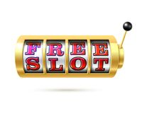 O slot machine com texto livra o entalhe Fotos de Stock Royalty Free