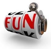 O slot machine da palavra do divertimento roda o entretenimento da apreciação Imagem de Stock Royalty Free