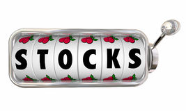 O slot machine dos estoques roda o investimento 3d Illustrati do jogo dos seletores Fotografia de Stock Royalty Free