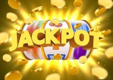 O slot machine dourado com voo de moedas douradas ganha o jackpot Conceito grande da vitória ilustração royalty free