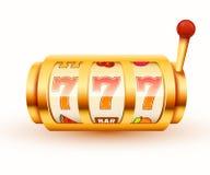 O slot machine dourado ganha o jackpot Conceito grande do casino da vitória ilustração royalty free