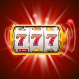 O slot machine dourado ganha o jackpot no fundo vermelho ilustração royalty free