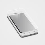 o smartphone 3d branco com protege o vidro, no branco Imagens de Stock