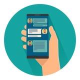O smartphone guardando masculino com entrante chama a tela Ilustração lisa ilustração stock