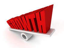 O símbolo da palavra do texto do CRESCIMENTO no equilíbrio cresce acima Fotos de Stock Royalty Free