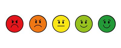 O smiley da avaliação enfrenta o vermelho para esverdear circularmente ilustração stock