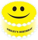 O smiley do bolo redondo é aniversário ilustração stock