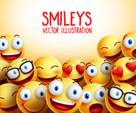 O smiley enfrenta o fundo do vetor com expressões faciais diferentes Imagem de Stock