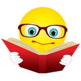 O smiley leu o livro Imagens de Stock Royalty Free