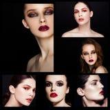 O smokey da beleza da colagem eyes o modelo vermelho da composição dos bordos foto de stock royalty free