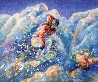 O snowboarder da menina conquista picos de montanha Autor: Nikolay Sivenkov ilustração royalty free