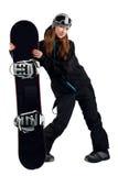 O snowboarder da mulher nos óculos de proteção Fotos de Stock Royalty Free