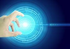 O social da rede do toque da mão conecta o círculo do fundo Foto de Stock