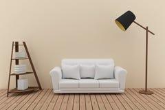 O sofá branco decora com estante e a lâmpada no design de interiores verde da sala em 3D rende a imagem ilustração stock