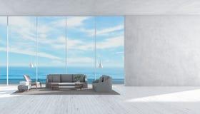 O sofá de madeira do assoalho da sala de visitas interior moderna ajustou a parede da rendição do verão 3d da opinião do mar para ilustração royalty free