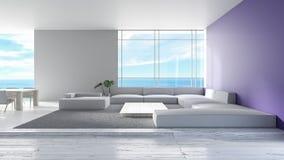 O sofá de madeira do assoalho da sala de visitas interior moderna ajustou a rendição do verão 3d da opinião do mar tendência roxa ilustração royalty free