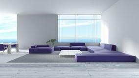 O sofá de madeira do assoalho da sala de visitas interior moderna ajustou a rendição do verão 3d da opinião do mar tre roxo da co ilustração royalty free
