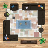 O sofá, poltrona, descansos, tapete, mesa de centro, pufe, planta a ilustração do vetor Mobília ajustada para o design de interio Foto de Stock Royalty Free