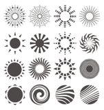 O sol abstrato dá forma à coleção ilustração stock