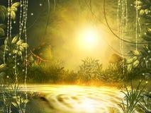 O sol brilhante no por do sol refletido no lago, cria um misterioso ilustração do vetor