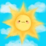 O sol de sorriso dos desenhos animados bonitos nubla-se o manga do anime do kawaii do céu Fotografia de Stock Royalty Free