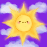 O sol de sorriso dos desenhos animados bonitos nubla-se o manga do anime do kawaii do céu Fotos de Stock Royalty Free
