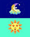 O sol e a lua. ilustração stock