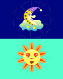 O sol e a lua. Foto de Stock Royalty Free