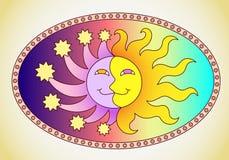 O sol e a lua em uma única imagem Fotos de Stock Royalty Free