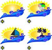 O sol e o cartão das ondas Fotos de Stock Royalty Free