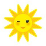 O sol engraçado do amarelo dos desenhos animados que sorri e que pisc eyes Imagem de Stock