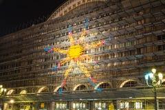 O sol na estação na noite, Turin Fotografia de Stock