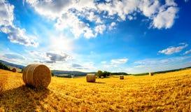 O sol que brilha em cima da paisagem rural foto de stock