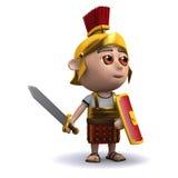 o soldado 3d romano acena sua espada Fotos de Stock Royalty Free