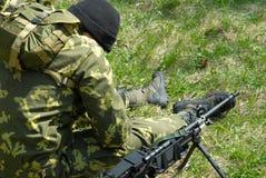 O soldado e a guerra Foto de Stock