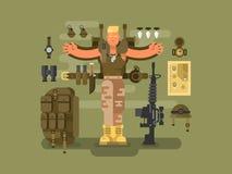 O soldado e a munição projetam horizontalmente ilustração stock