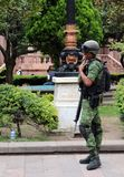 O soldado no sorriso do amor foto de stock