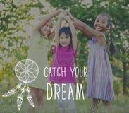 O sonho da captura acredita o conceito da motivação da aspiração foto de stock royalty free