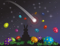 O sonho de um coelho pequeno na véspera da Páscoa Fotografia de Stock