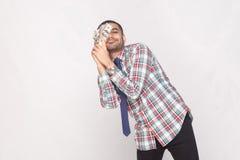 O sonho vem verdadeiro! Homem de negócios farpado considerável rico satisfeito dentro imagem de stock