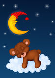 O sono do urso de peluche na lua Foto de Stock