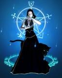 O Sorceress e a pantera preta - concentração ilustração stock