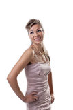 O sorriso feliz da mulher nova isolou-se Fotografia de Stock